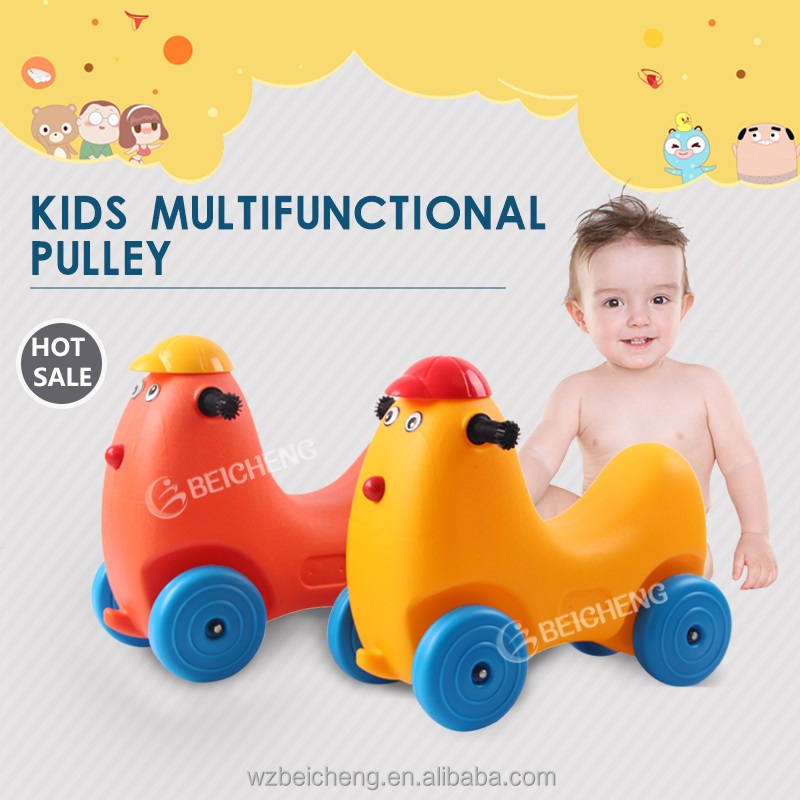 2016 Hot Sale Plastic Toys Animals Shape Pulley Rider For Kids