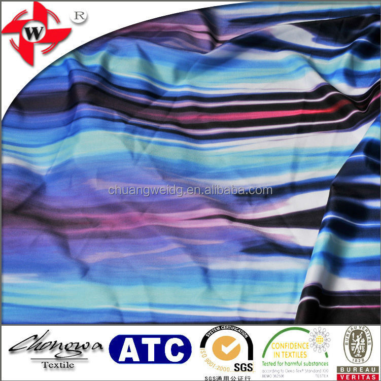 smooth high quality digital printing poly lycra gradient color fabric