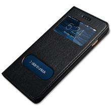 High quality classic window flip style phone case cover genuine leather business men case for iphone 6