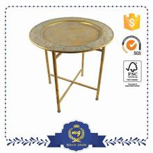 Convenient Metal Golden Round Coffe Table