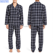 china manufacturers cheap men clothing long sleeve black and gray plaid 100% cotton knitted mens winter pajamas sets