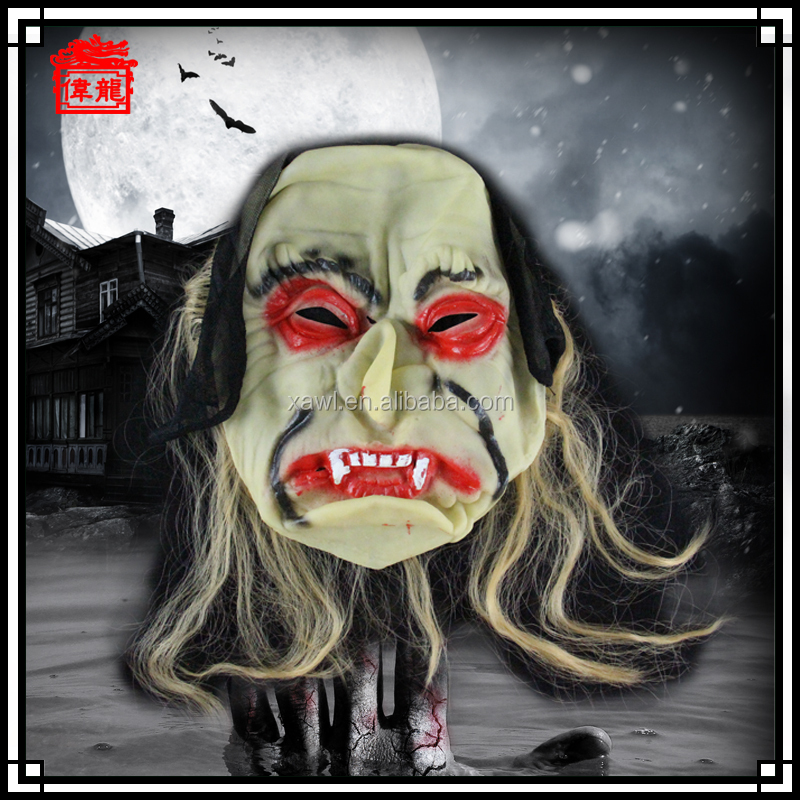 Hot selling soft resin horror zombie mask for halloween party MJ03-1