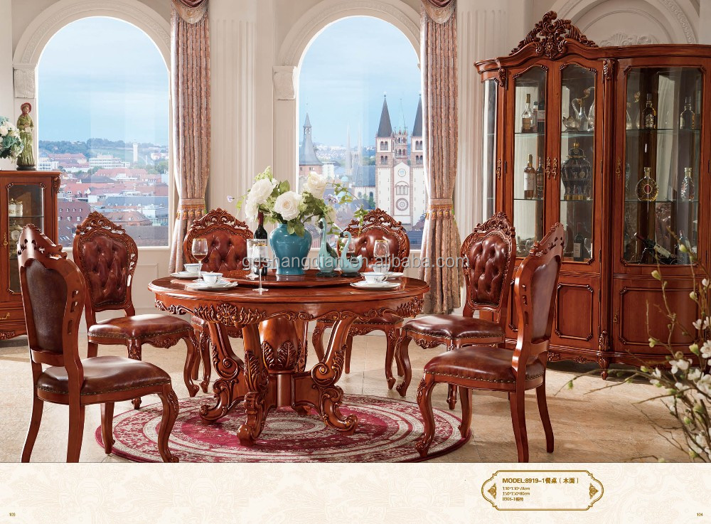 High quality indian dining room set table and chairs hand carved furniture