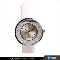 diamond lady crystal watch with genuine leather watch straps