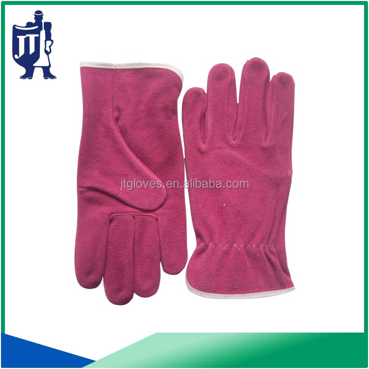 EN388 comfortable pink cow split leather working gloves