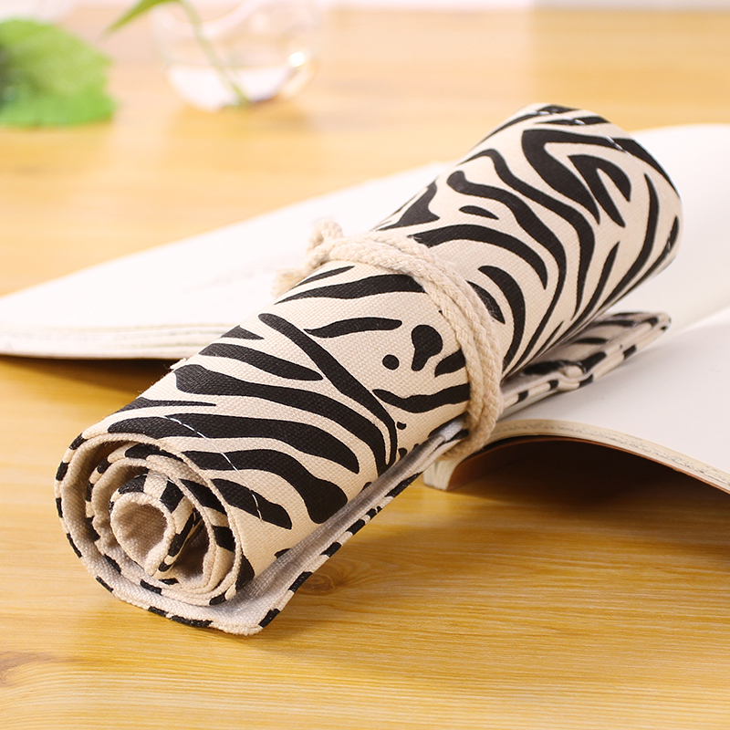 Cool Personalized Zebra-stripe Canvas 36 Holes Wholesale Pencil Case