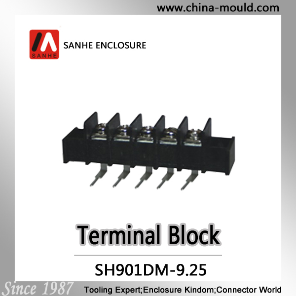 Sanhe barrier terminal block 9.5mm fence terminal block connector with flange or without flange bent pin header