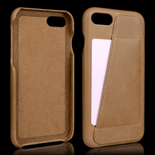 Super slim back cover card holder real leather cell phone case for iphone 7