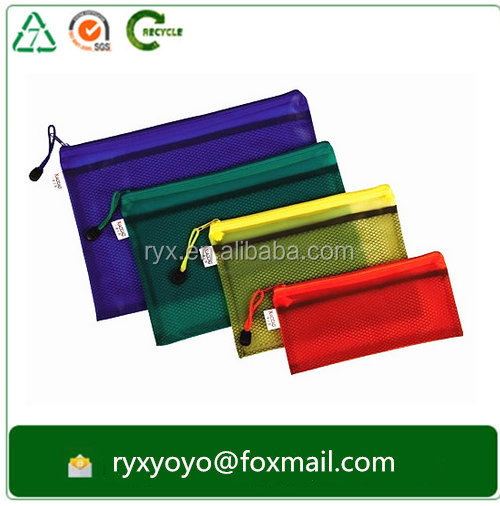 2016 high quality pvc clear plastic zipper document file bag with zip lock