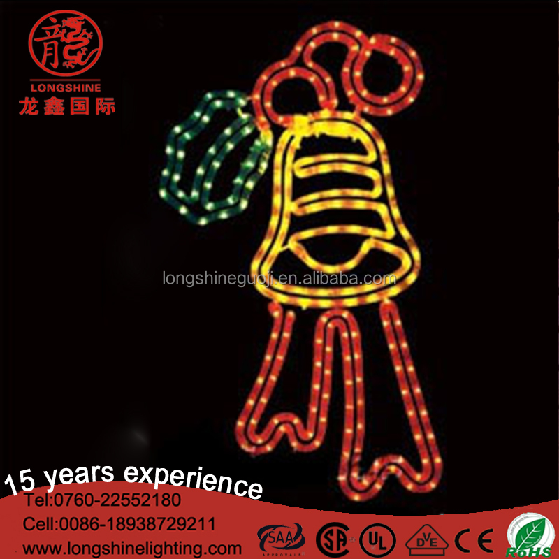LED 0.6M Bell With Red Ribbon led christmas light for Christmas wedding decoration