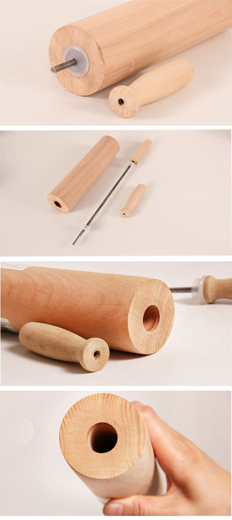 High quality Wax free beech wood rolling pin S M L size