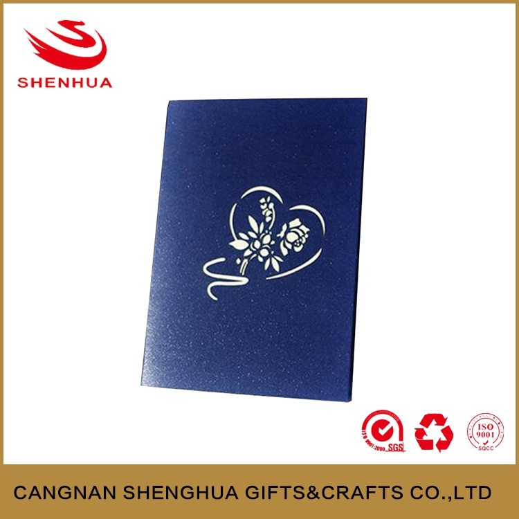 New fashion design heart shape 3d greeting card for gift