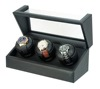 Triple Watch Winder with Black PU Leather Lining