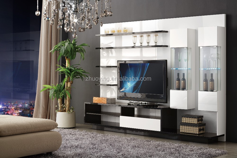 Simple tv lcd wooden cabinet with showcase tv stand - Simple showcase designs for living room ...