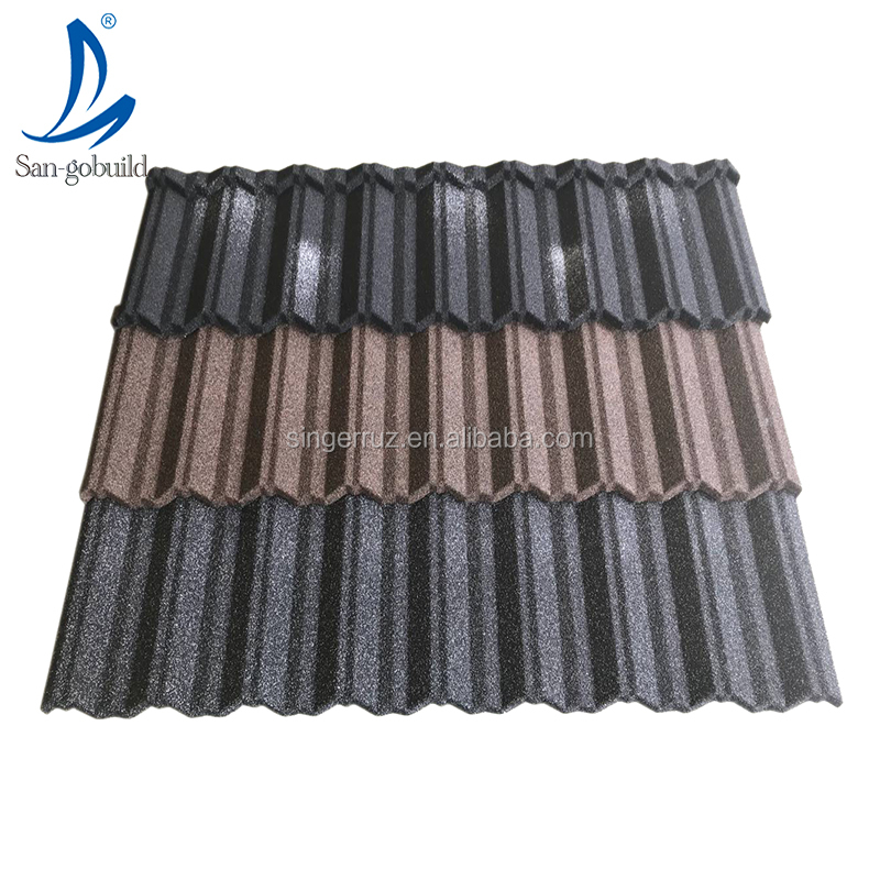 Zincalume base Long life span roof material house top stone coated metal roofing sheets factory price supply