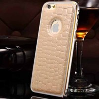 retail packing luxury leather back case for iphone 6 metal bumper cover case with free screen protector