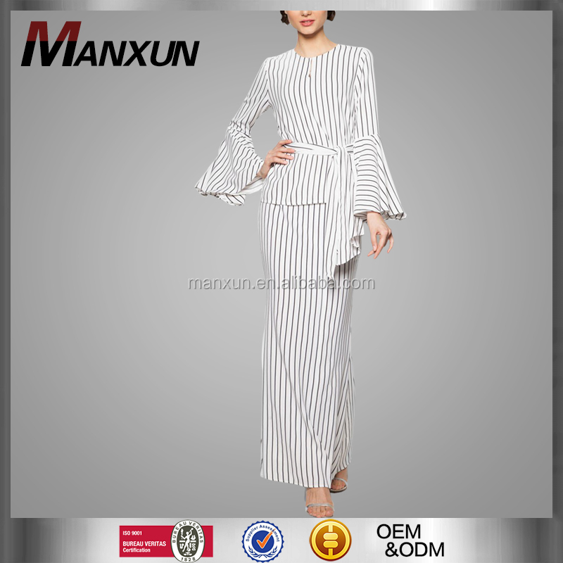 OEM baju kurung design pinstripe muslim clothing women islamic clothing 2016