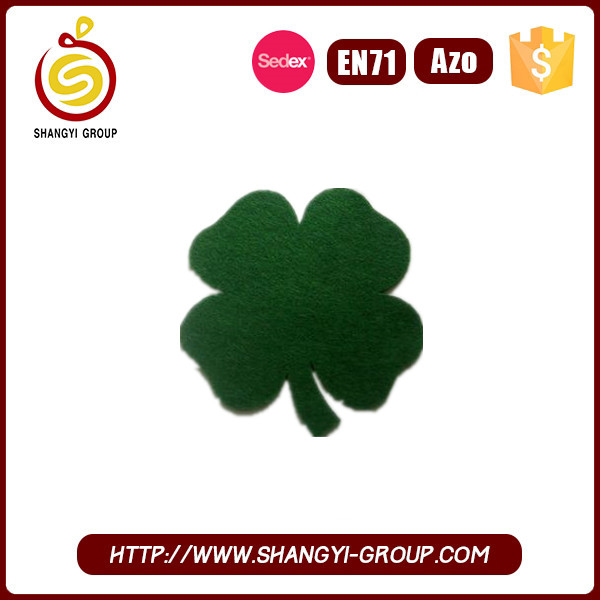 2017 hot new products st. patrick's day clover felt coaster cup mat