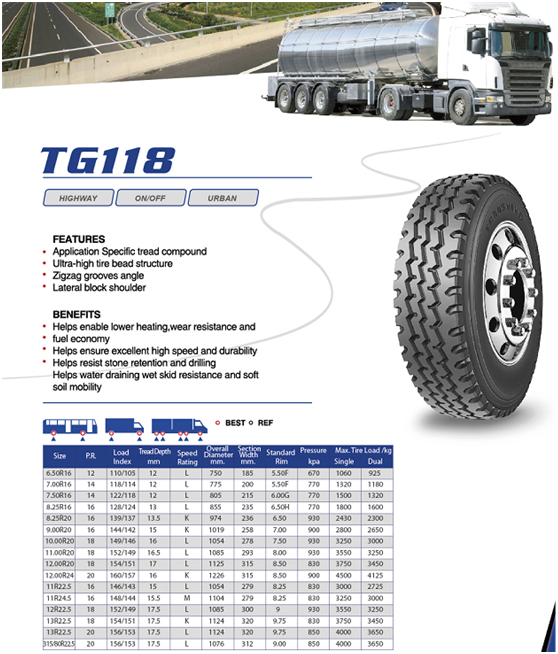 China Brand TRANSKING Light Truck Tire 7.00R16 with Low Price