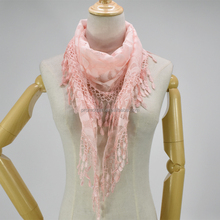 Triangle Scarves Winter Hijab Lace Pink Neck Wear Scarf