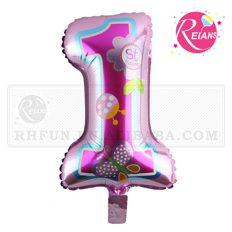 Reians customized ballon cartoon inflatable happy birthday balloon number 1 one year decoration Supplies baloon (Accept OEM,ODM)