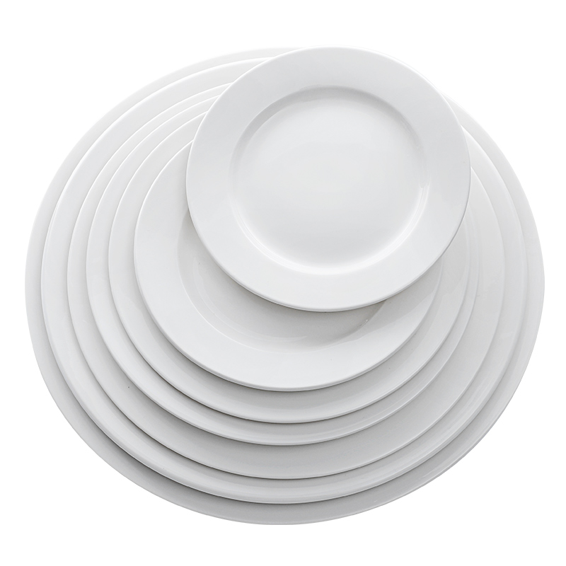 Manufacturer Wholesale Hotel White Ceramic Dinner <strong>Plate</strong>, Restaurant 6.25 inch 12 inch Porcelain Flat <strong>Plate</strong> Sets~