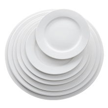 Manufacturer Wholesale Hotel White Ceramic Dinner Plate, Restaurant 6.25 inch 12 inch Porcelain <strong>Flat</strong> Plate Sets~