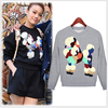 MS60406W latest casual printed dog hoodies blouse fashion pull over women