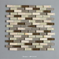 Beige Marble And Light/Dark Brown Random Mosaic Tile Pattern Brick Wall Mosaic Tile Square Mosaic Tile