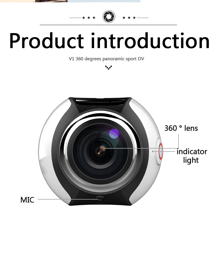 2017 Factory 1080P HD 360 Degree V1 Camera Video WIFi Wireless Action Panoramic VR Sport Camera DVR