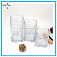 Unique decorative tall large size flower containers clear square glass vase