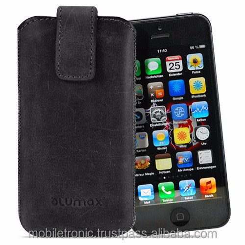 Geniune Leather case for iPhone 5c Slide Antic Grey Cow Leather