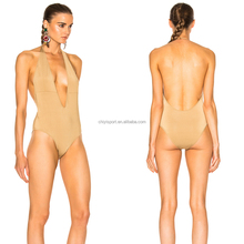 Women beige swimwear one piece swimmers monokini