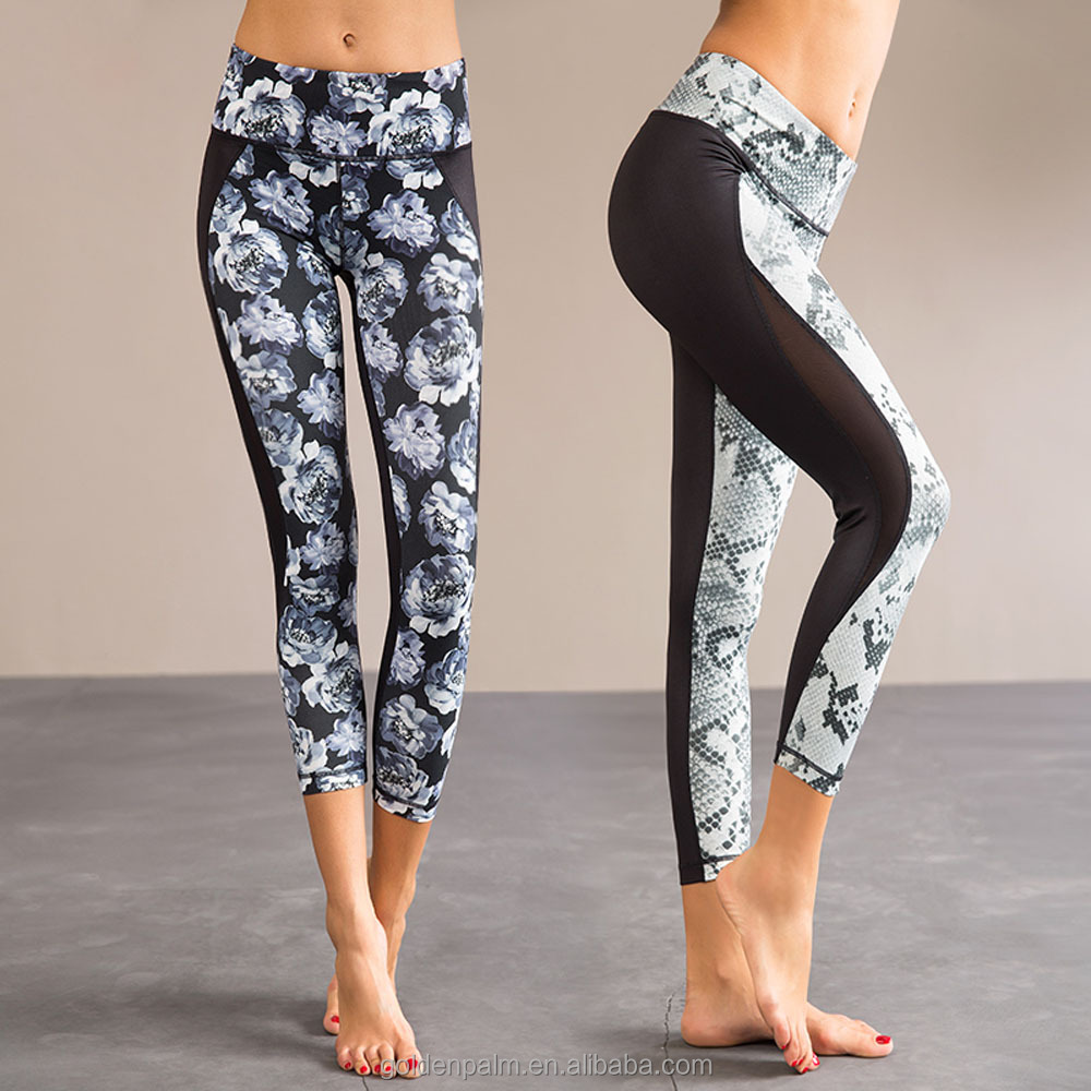 digital printing 80% nylon 20% spandex capris for women