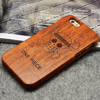 Laser engrave wooden covers cool ONE PIECE shape custom wooden cases for iphone 6 6S 4.7''