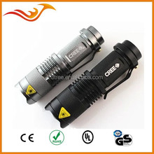 min high power CREE Q5 flashlight with clip and suitable for bicycle light
