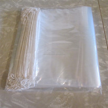 Clear LDPE heavy duty plastic drawstring bag with cotton draw string poly bag