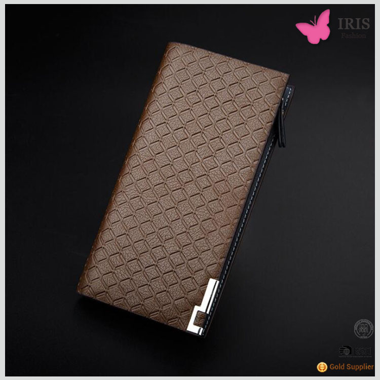 European fashion business lattice Baellerry purse casual long black plaid wallet rectangle men's leather wallet