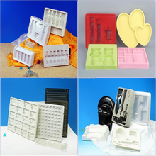 Eco-friendly and flocking PS plastic packaging tray for cosmetic gift box