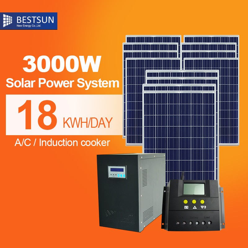BESTSUN solar panel for home use low price 3000w on grid solarpanel roof mount kit/solar power station system 10KW