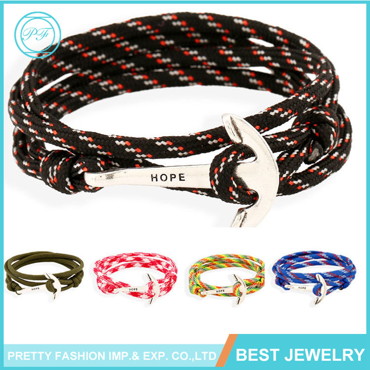 Hot Sale PU leather bracelet Handcrafted anchor and navy wind sailing style woven bracelet