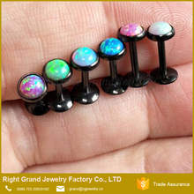 Customized Best Seller Black Plated Internally Threaded Opal Free Sample Lip Labrets Ring