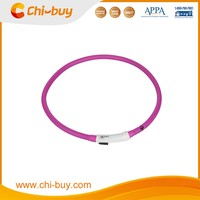 Chi-buy Safety Pet USB LED Dog Collar Rechargeable LED Silicone Dog Collar Free Shipping on order 49usd