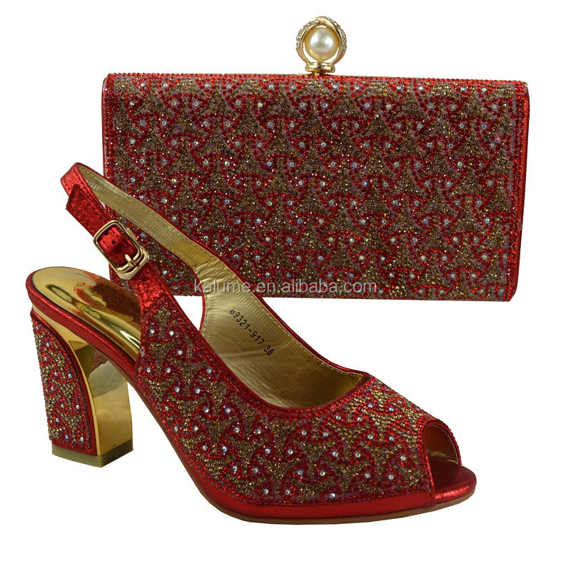 Red Color Ladies Leather Italian Matching Shoes And Bags African Women Nigerian Diamond Italian Shoes And Bag To Match 89231-917