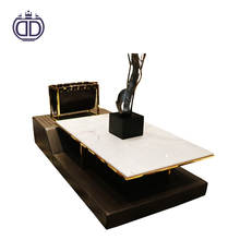 VIP collection postmodern style furniture homes leather coffee table modern with italian marble top