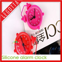 Unique design silicone rubber small table children alarm clock promotional