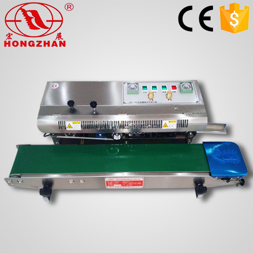 horizontal continuous bag sealing machine automatic bag sealer continue band heat sealing machinery with code print CE