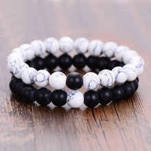 New Lava Stone Beads CZ Crown Bracelet Couples His & Hers Matching YinYang Lovers Distance Bracelet Lava Stone Bead Bracelet