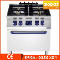 SOPAS 900 Series Restaurant Equipment Stainless steel professional gas cooker, gas stove, gas range 4 burner with oven