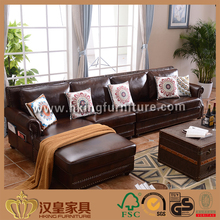 Latest Design Hall Drawing Seating Room 100% Top Grain Leather Bright Colored Wood Furniture Design Leather Sofa Set